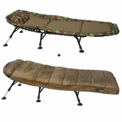Lehátko Bedchair Fleece Camo 6Leg Giants Fishing + Spacák Deluxe 3-4 season